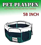 "New 58"" 2X-Large Dog Pet Cat Playpen Kennel Exercise Pen Crate Fence - Green"