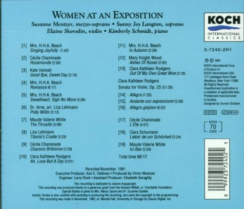 Women at an Exposition: Music Composed by Women and Performed at the 1893 World's Fair in Chicago by Koch Int'L Classics