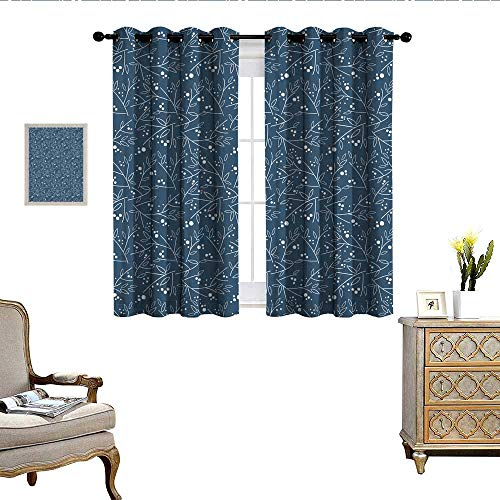 QianHe Bedroom Curtains Floral Pattern with Leaves and Twigs Living Room Dining Room Kids Youth Room Window Drapes W55 x L45