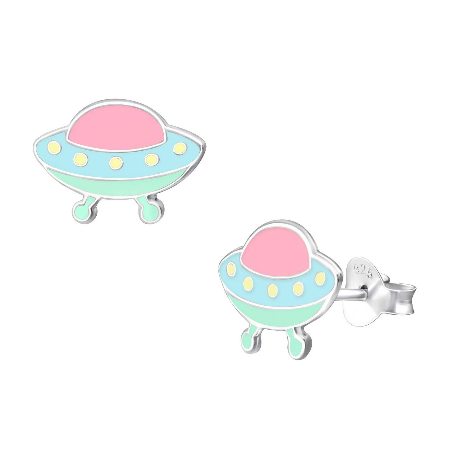 13mm Colorful Mint Pink UFO Studs Earrings 925 Sterling Silver Jewelry