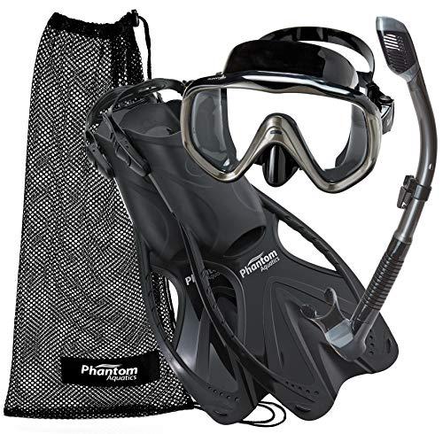 Phantom Aquatics Turtle Mask Fin Dry Snorkel Snorkeling Set (Black Titanium, ML/XL (9-11)) ()
