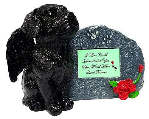 If Love Could Black Angel Dog Memorial Statue with Tribute Plate and Keepsake Box for Ashes by Imprints Plus (2013 blk-mgrn)