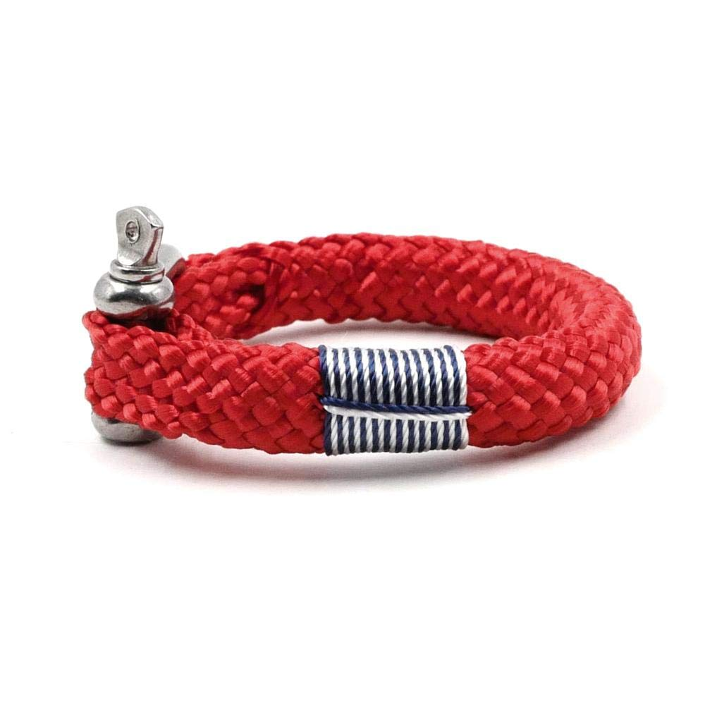 TTHER Rope Nautical Mirror - Nautical Braided Bracelet Hand-Made Yachting Rope Military Paracord Bracelet Wristband W/D-Shackle BRT-N514 by TTHER