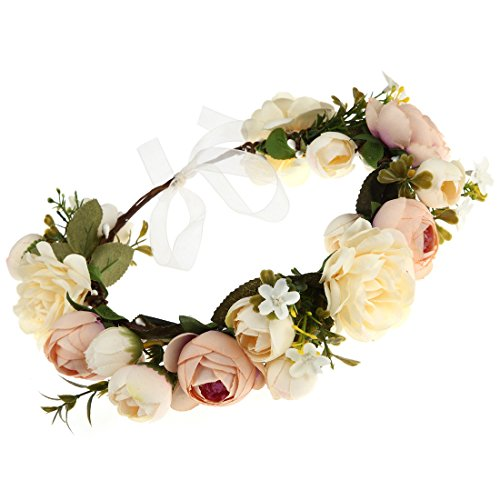 DDazzling Women Flower Headband Wreath Crown Floral Wedding Garland Wedding Festivals Photo Props (Champagne) -