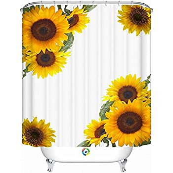 Alicemall 3D Sunflower Shower Curtain Yellow Blossom Polyester Waterproof Bathroom Set 12