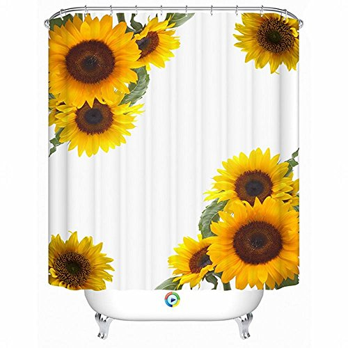 Alicemall 3D Sunflower Shower Curtain Yellow Sunflower Blossom Polyester Waterproof Bathroom Curtain Set, 12 Curtain Hooks (71