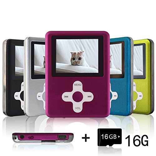 Lecmal Portable MP3/MP4 Player with 16GB Micro SD Card, (LightPink)