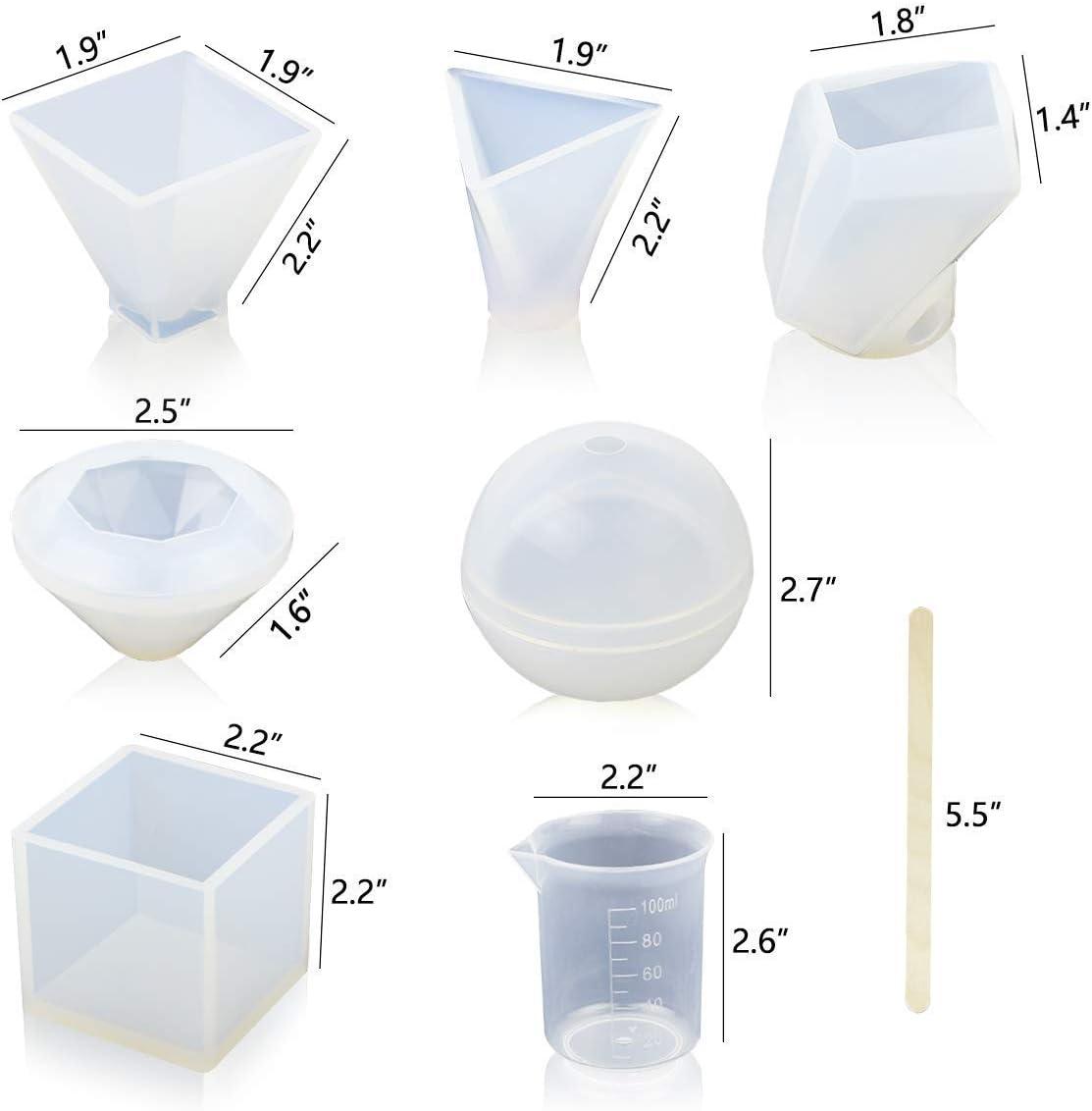 diamant cubique Ddfly Lot de 8 moules en r/ésine pour moulage en r/ésine /époxy y compris sph/érique avec tasses et b/âtons de bois pyramide triangulaire pyramide et moule en forme de pierre