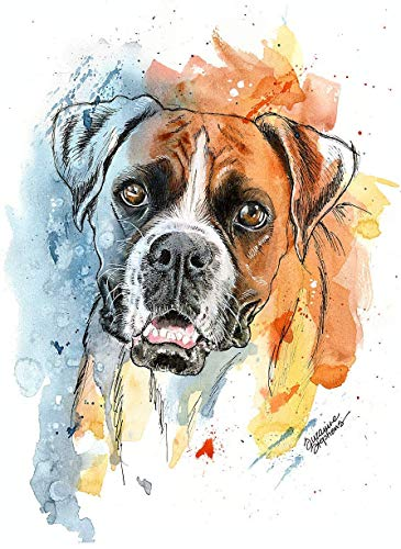Boxer Watercolor Art Print of Original Painting, Pet Themed Party Nursery Home Wall Decor, Gift for Dog Mom, Dad, Parent; Rainbow Bridge Pet Loss Sympathy Bereavement Housewarming Animal Picture