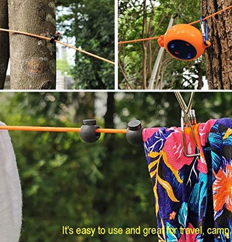 51aNG5CR5cL Alihoo Wäscheleine, 8m Einziehbare Wäscheleine tragbare Reisetrockner Outdoor Camping Winddichte tragbare hängende Rack…