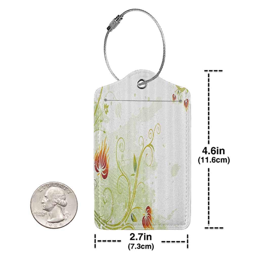 Modern luggage tag Floral Swirled Petals Lines on Grunge Background Retro Scroll Botany Design Suitable for children and adults Light Green Pistachio Ruby W2.7 x L4.6