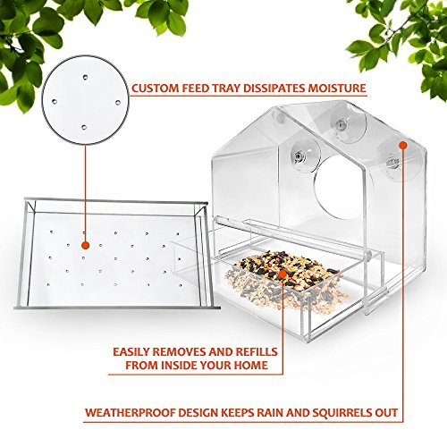 UPGRADED-Window-Bird-Feeder-Sliding-Feed-Tray-Large-Crystal-Clear-Weatherproof-Design-Squirrel-Resistant-Drains-Rain-Water-to-keep-bird-seed-dry