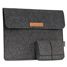 MoKo 10-11 Inch Sleeve Bag, Felt Protective Carrying Case Cover for iPad Pro 10.5 2017, Macbook 12 Inch, Surface 3 (10.8 Inch), Lenovo Yoga Book (10.1 Inch) and More, with Small Felt Bag, Dark Gray