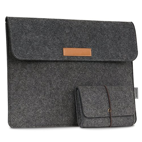 MoKo 13.5-Inch Sleeve Bag for Surface Book 2 13.5'/ Surface Laptop / Surface Book (2015 / 2016), Felt Protective Ultrabook Carrying Case Cover, with Small Felt Bag & Two Back Pockets - Dark Gray