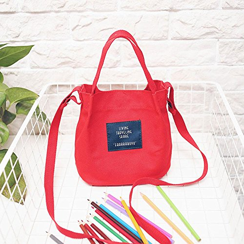 Canvas Kawaii Shoulder Messenger for Aolvo Simple Grocery Tote Bag Thick Bags Women Japanese Multifunctional Red Yellow Duffle Crossbody Shopping Style Canvas Bag match Clothes All 8waqCv1wX