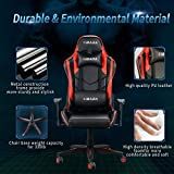 Hbada Gaming Chair Racing Style Ergonomic High Back Computer Chair with Height Adjustment, Headrest and Lumbar Support E-Sports Swivel Chair, Red