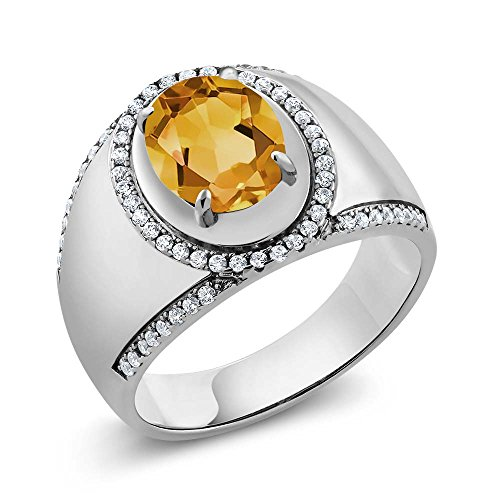 Gem Stone King 2.79 Ct Oval Yellow Citrine 925 Sterling Silver Men's Ring (Size ()