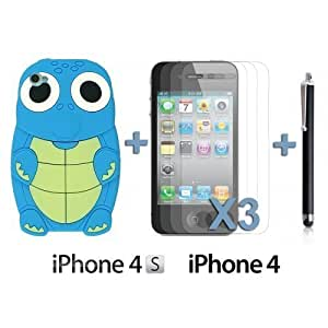 Turtle Style 3D Silicone For Iphone 5C Case CoverBlue with 3 Screen Protectors and Stylus
