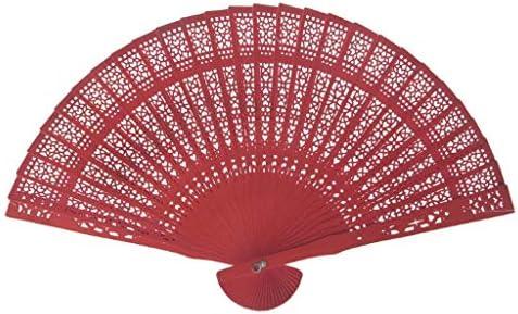 折りたたみ手のファン カラフルなヴィンテージ扇子中空ウッドハンドファン中国香りの良い木製扇子 (Color : Red)