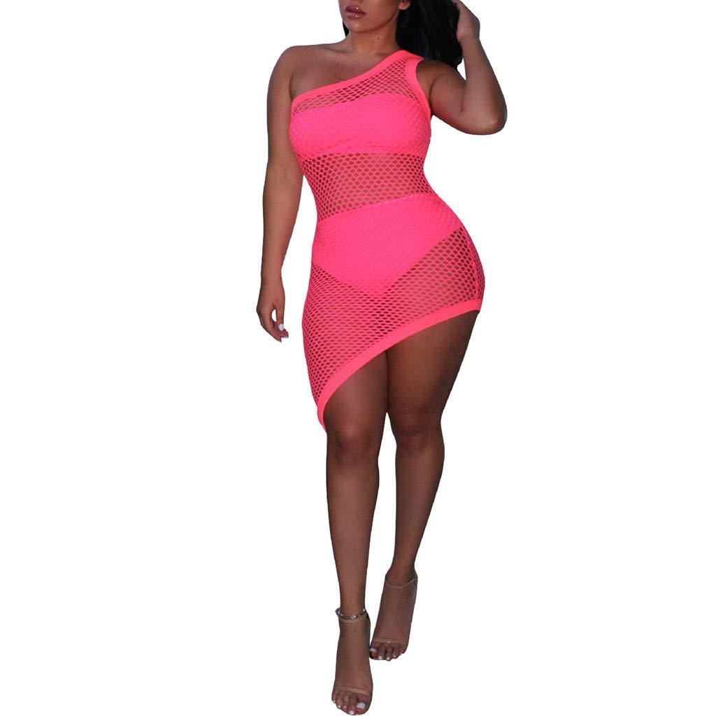 mililian Women's Sheer Mesh Bikini Cover Up Swimwear Swimsuit Bathing Summer Beach Dress Hot Pink by mililian