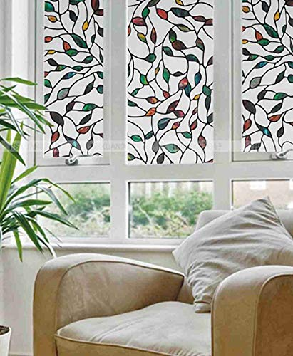 (Robert Window sticker Static Cling Stained Glass Window Film Leaf Grape Magnolia Orchid Flower Cobblestone Privacy)