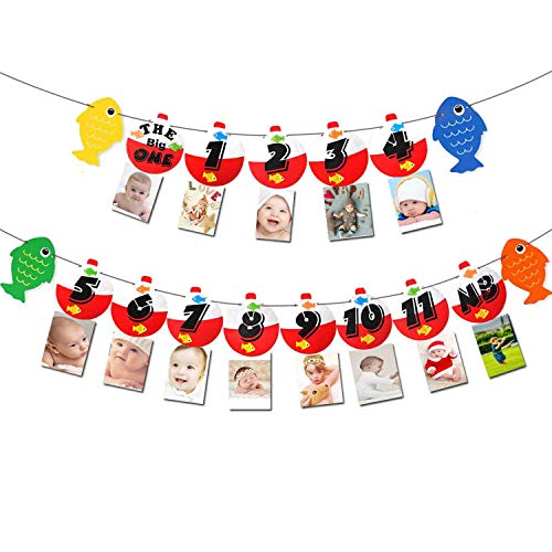 - The Big One Fishing Buoy Banner Baby Monthly Photo Banner Small Fisherman Kids Birthday Party Cake Crush Decoration