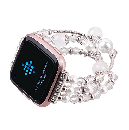 Fitbit Versa Bands, Replacement Band Fashionable Handmade Beaded Elastic Stretch Faux Pearl Natural Stone Bracelet Strap Wristbands Accessories for Fitbit Versa Smartwatch Women Girl (Small, White)