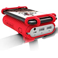 10000mAh 2-Port Power Bank, ROMOSS Compact Portable Charger with Bike Phone Holder and LED Flashlight for iPhone, Samsung and Any 4-5.5 Inch Smartphones - Red
