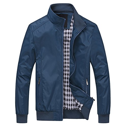 - ROMINTON Men's Windproof Jacket Motorcycle Windbreaker Casual Business Jacket for Men