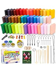 Polymer Clay Starter Kit, 46 Colors Oven Bake Clay, DIY Modeling Clay Bockers, 5 Scuplting Tools, 5 Colors Mica Powder, 40 Jewelry Accessories for Kids and Adult