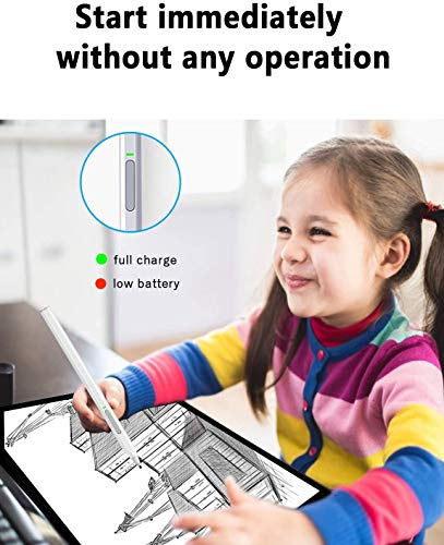 Surface Pen, BOLWEO Active Stylus Pen Compatible with Microsoft Pro X/7/6/5/4, Surface Laptop 3/2/1, Surface Book 2/1, Surface Go, 4096 Level Pressure with Palm Rejection(Silver)
