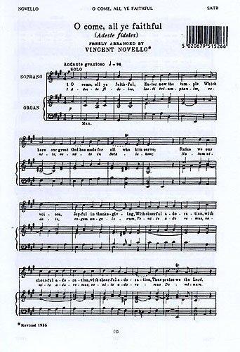 Vincent Novello: O Come, All Ye Faithful (Adeste Fideles). Partitions pour SATB, Accompagnement Orgue - Faithful Adeste Fideles Sheet Music