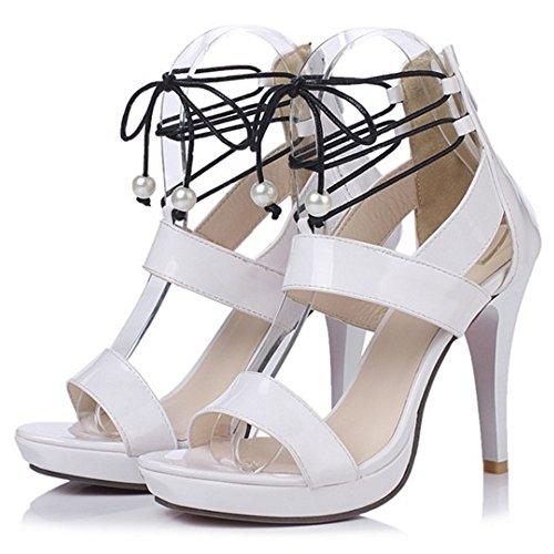 Donna White TAOFFEN Scarpe Sandali Piattaforma Alto Moda Tacco gA88wqf7