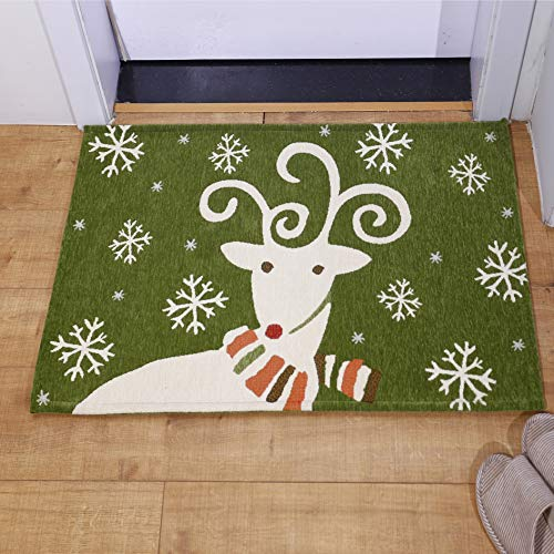AMIDA Indoor Outdoor Christmas Mats Reindeer,Small Entryway Area Rug 24x35 for Home Flooring Decoration Green and White Snow Anti Slip Machine Washable