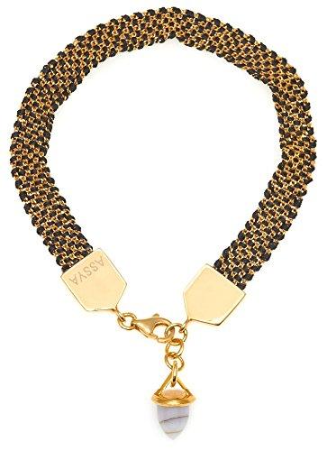 assya-fore5g-et Bracelet tissé noir avec pierre de lune-Bullet Longueur de 18cm