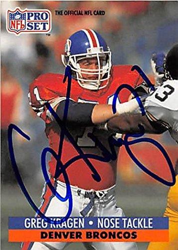 Football Denver Autographed Broncos Pro (Greg Kragen autographed Football Card (Denver Broncos) 1991 Pro Set #492 - NFL Autographed Football Cards)