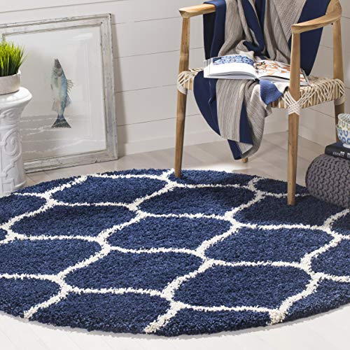 Safavieh Hudson Shag Collection SGH280C Navy and Ivory Moroccan Ogee Plush Round Area Rug (5' in Diameter)
