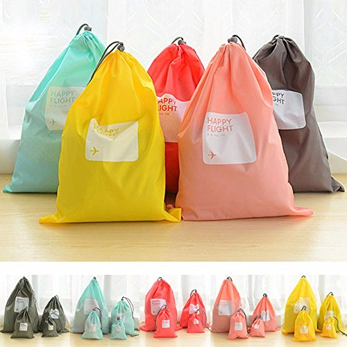 shouldbuy 4 Pieces Waterproof Travel Drawstring Bag Shoe Laundry Underwear Makeup Storage Pouch