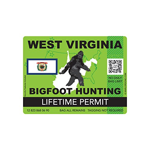 West Virginia Bigfoot Hunting Permit Sticker Die Cut Decal Sasquatch Lifetime FA Vinyl