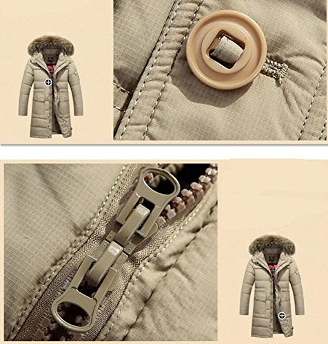 Lingswallow Men's Winter Thicken Khaki Faux Fur Hooded Long Down Jacket Coat by Lingswallow (Image #4)