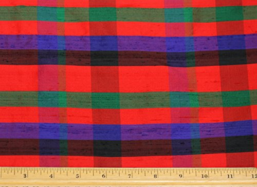 Red Blue & Green Dupioni Plaids, 100% Silk Fabric, By The Yard, 44