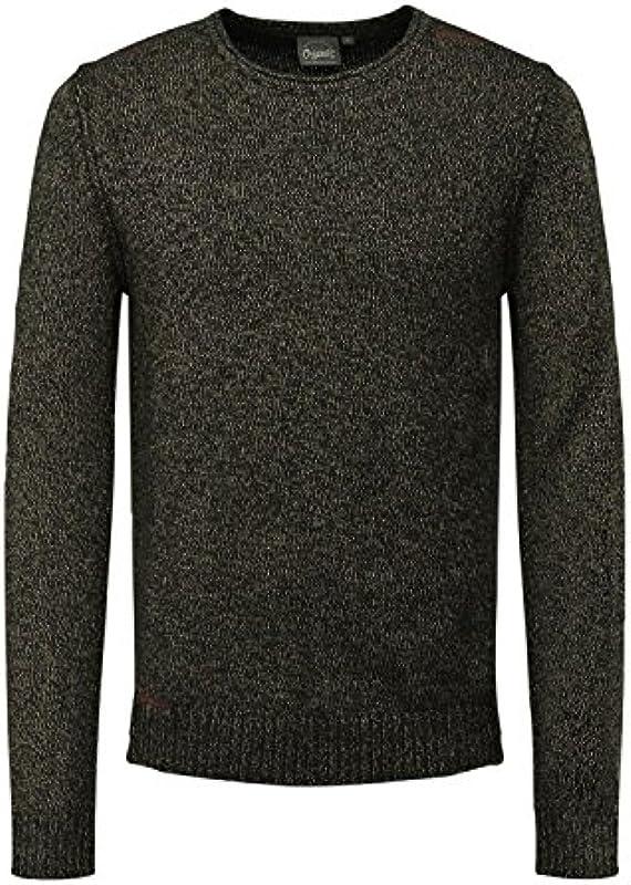 JACK & JONES Originals sweter 12128653 męski okrągły dekolt kolor brązowy - rozmiar S: Odzież