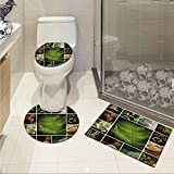 jwchijimwyc Spa 3 Piece Bathroom Rug Set Collage of Candles Stones Herbal Salts Towels Botanic Plants Design Print customized Green White and Brown