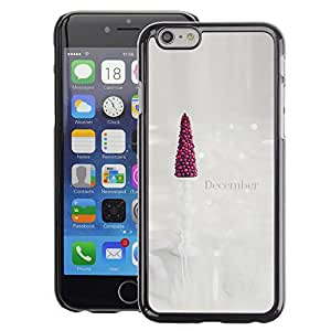 Planetar® ( December Christmas Tree Art White ) Apple iPhone 6 / 6S (4.7 inches!!!) Fundas Cover Cubre Hard Case Cover