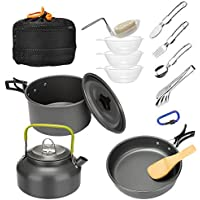 "Mokoala 15Pcs Camping Cookware Mess Kit, Lightweight Pot Pan Kettle with 6"" Stainless Steel Tongs, Folding Fork Knife Spoon for Outdoor Camping Backpacking Hiking Picnic"