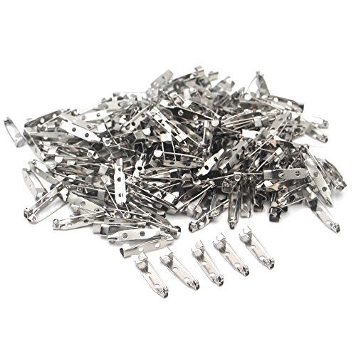 Silver Tone Pin Back Clasp Brooch 1-Inch Badge Pins for Crafts, Jewelry Making, 100 Pieces