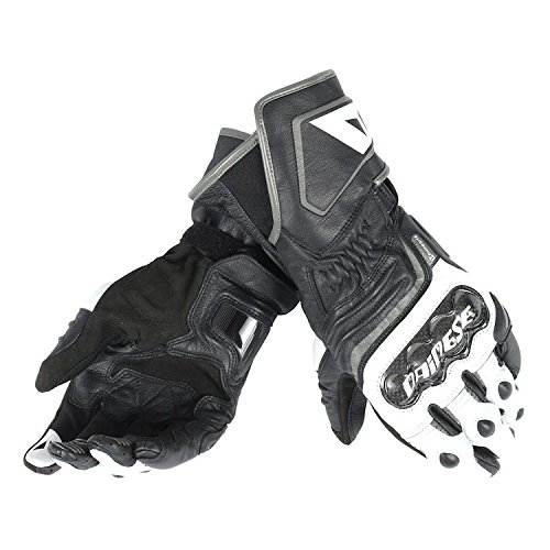 Dainese Carbon D1 Long Mens Leather Gloves Black White Anthracite XL