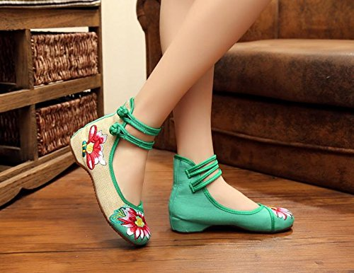 Moda Zapatos Zapatos green Bordados Tend¨®n xiezi Estilo Femenina Dentro Casual lenguado ¨¦tnico c¨®modo zl del de Tela del Aumento 15Sf5qx7w