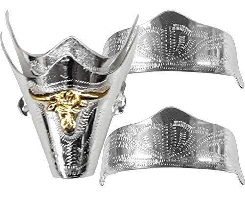 Tip Boots Boot Cowboy (Modestone 4 Pcs Nickel Silver Boot Caps: 2 x Toe Bull + 2 x Heel Silver)