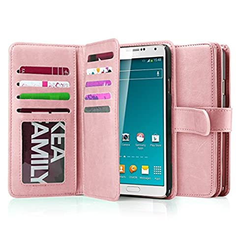 Note 3 Case, Galaxy Note 3 Case, Jwest Note 3 Wallet Case,Pu Leather Case Magnet Wallet 9 Credit Card Holder Flip Cover Case Built-in 9 Card Slots Case for Samsung Galaxy Note 3 N9000 (Rose (Galaxy 3 Phone Cases Flip Cover)